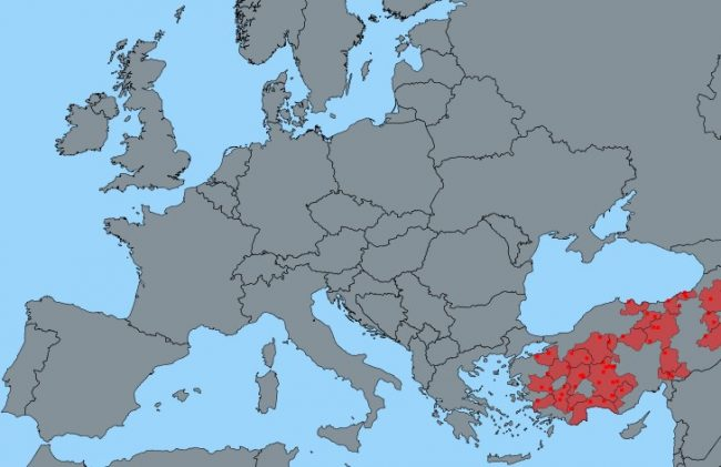 Mapa přehledu ohnisek moru malých přežvýkavců v roce