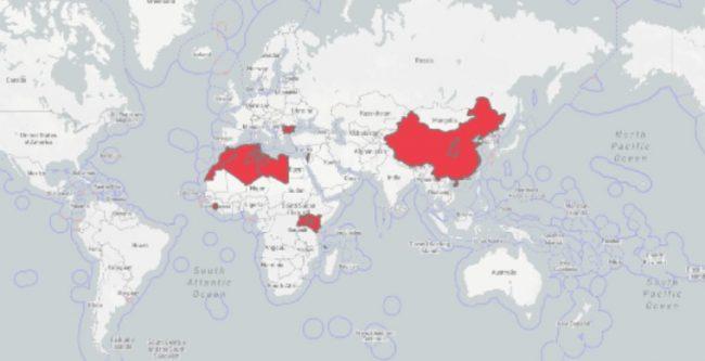 Mapa přehledu ohnisek moru malých přežvýkavců ve světě v roce